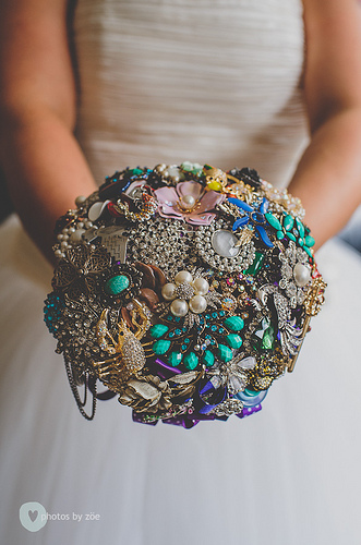 A collection of pretty vintage brooches makes a stunning bouquet.