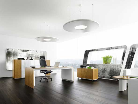 Elegant Brown Wood Contemporary Executive Office Furniture