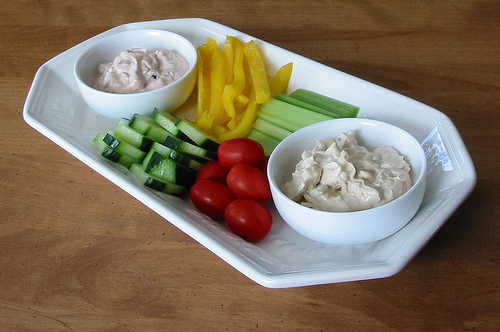 A selection of healthy vegetables and dips makes a good starter for children or adults